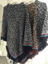 New Ladies Poncho Cape Shawl Wrap Animal Leopard Print Knitted Jumper Tassel UK