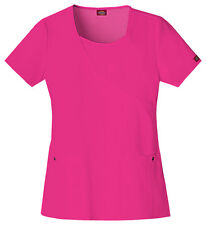 Dickies Scrubs Short Sleeve Top 82814 HPKZ Hot Pink Free Shipping