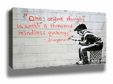 BANKSY ONE THOUGHT MODERN URBAN GRAFFITI STREET ART HIGH QUALITY CANVAS PRINT