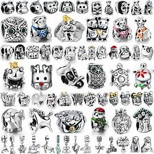 Animal Style 925 Silver Charms Cat Dog Frog Owl Bead Fit  Women Bracelets Bangle