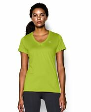 UNDER ARMOUR WOMEN'S UA HEATGEAR TECK V-NECK T-SHIRT GREEN #1255839-NWT