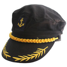 Adult Yacht Boat Ship Sailor Captain Costume Hat Cap Visor Navy Marine Admiral