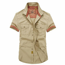 Mens Fashion Cotton Army Casual Shirt Outdoor Military Cargo Shirts Short Sleeve