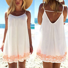 Womens Plus Size Chiffon Strappy Backless Mini Dress Summer Beach Blouse Tops