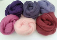 MERINO WOOL PURPLE / PINK SHADES dyed wool tops / roving / needle felting  60g