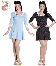 HELL BUNNY BEE BEE POLKA DOT spotted MINI jersey DRESS BLACK SKY BLUE