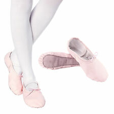 Womens Girls Leather Ballet Slippers Ballet Shoes Full Sole Pink