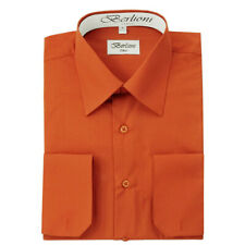 BERLIONI ITALY MEN'S CONVERTIBLE CUFF SOLID ITALIAN FRENCH DRESS SHIRT RUST