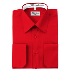 BERLIONI ITALY MEN'S CONVERTIBLE CUFF SOLID ITALIAN FRENCH DRESS SHIRT RED