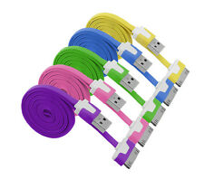 New 1/2/3M Flat Noodle USB Sync Data Charger Cable Cord For iPhone 4 4S iPod