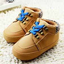 Toddle infant Baby Girls Boys Brown Soft sole Crib Shoes Sneaker Size 0-18Months