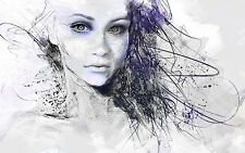 PURPLE ABSTRACT GIRL COLOURFUL ART Wall Art Various Size Canvas Prints