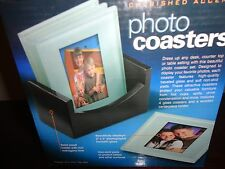 CHERISHED ACCENTS GLASS PHOTO FRAME COASTERS WITH WOOD HOLDER NIB