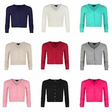 Girls Fine Knit Cropped V-neck Cardigan Kids Long Sleeve Sweater Top 3-14 Years