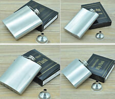 4,5,6,7,8,10 Oz Stainless Steel Hip Liquor Alcohol Drink Party Flask + Funnel