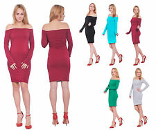 WOMENS BODYCON SEXY OFF THE SHOULDER LONG SLEEVE SHORT MINI DRESS EVENING PARTY