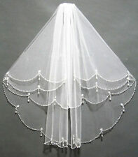 NEW 2T Elbow Beaded Edge Pearl white & ivory Bridal WEDDING Veil with comb ***