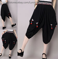 Women's Retro Embroidery Cotton Linen Harem Pants Loose Bloomers Casual Trousers