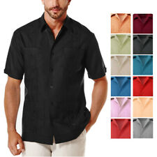 GUAYABERA MEN'S BUTTON UP SHORT SLEEVE BEACH WEDDING ATTIRE EMBROIDERED SHIRT