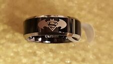Batman v Superman Laser Etched 2-Tone Tungsten Carbide Black Band Ring
