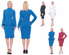 WOMENS VINTAGE 1940S SLEEVE PEPLUM PENCIL MIDI DRESS EVENING PARTY COCKTAIL