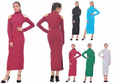 WOMENS COLD SHOULDER TURTLENECK MAXI LONG SLEEVE DRESS STRETCHY BODYCON DRESS