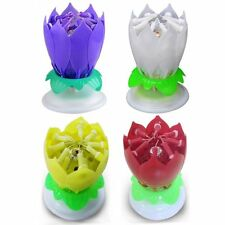 4 x Magical Flower Happy Birthday Blossom Lotus Music Candle Romantic Party Gift