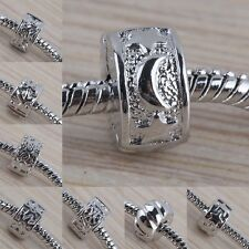 Star/Flower/Cross Silver Plated Stopper Clip Lock End Beads Fit Charms Bracelet