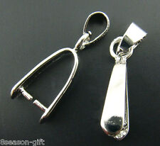 Gift Wholesale Silver Tone Pinch Clip Bail Beads Findings 23.5mm x 6mm