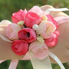 Hot Sale Bridal Rose Wrist Corsage Wedding Party Artificial Silk Flower Bracelet