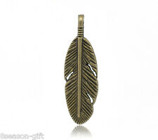 Gift Wholesale Bronze Tone Feather Charm Pendants 30x9mm
