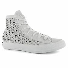 Converse All Star Woven Hi Top Casual Trainers Womens Powder White Sneakers