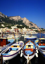 Art print POSTER Small Boats Moored at Capri in the Bay of Naples