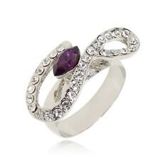 VF V474 Clear Crystal WGP Alloy Purple CZ Forever Lover Ring Size 7,8