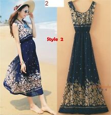 Summer Style Bohemian Women Ladies Dress Floral Beach Maxi Dress - Size Small