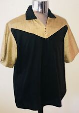 Vintage 1950's Atomic 2Tone Rayon Rockabilly VLV Pullover Shirt Small-2XX