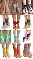 Barefoot Crochet Sandals Anklet Bohemian Boho Beach Hippie Wedding Bridal