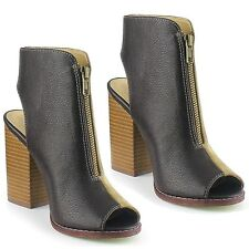 2-tone Black Khaki Chunky Heel Peep toe Ankle Bootie Women's shoes Nelly-01