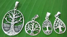 REAL 925 sterling silver plain oxidised Tree of Life pendant men women