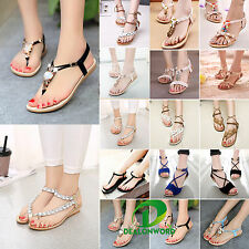 Womens Boho Sandals Shoes Beach Toe Post Slippers Flat T-strap Thong Flip Flops