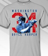 Washington Nationals Bryce Harper Rough Cut Gray T-Shirt - Adult Sizes Brand New
