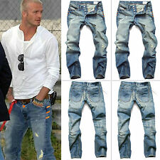 Fashion Mens Designed Straight Slim Fit Denim Jeans Trousers Casual Thinly Pants