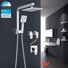 "WELS 8"" Square Rain Shower Head Wall Arm Diverter Handheld Spray Mixer Tap Set"