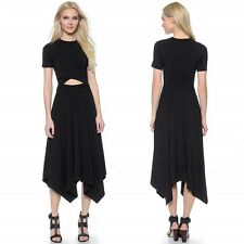 Sexy Cut Out VTG High Waist Asymmetric Fit Flare Casual Party Summer Long Dress