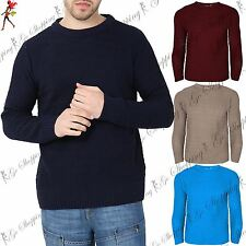 Mens Designer Chunky Knit Cable Jumper Thick Knitted Sweater Pullover Crew Neck