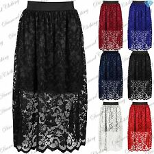 Womens Ladies Floral Lace Layered Elasticated Waist Band Swing Midi Length Skirt