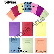 New Silvine A5 Exercise Books School Notebooks 80 pages Children's Homework