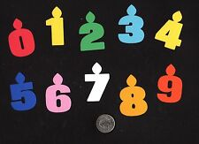 """Birthday Candle Die Cuts, 10 pcs - You choose numbers and colors, 2"""" tall"""