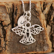 Sterling Silver Personalised Filigree Guardian Angel Pendant Necklace & Initial