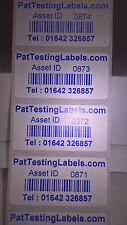 200 Coloured  Personalised Barcode Asset Labels Stickers (PAT Testing) 40x24mm